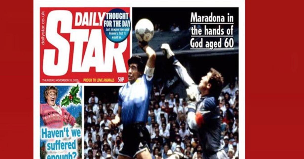 """Maradona, """"Dio è morto"""" per la stampa ma l'Inghilterra lo ..."""